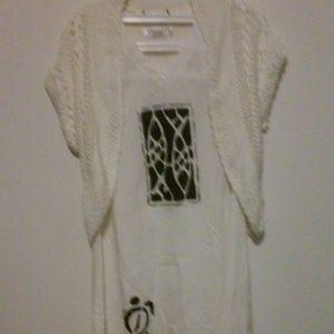 CrazyFish Design Women White Casual Cotton Shawl M